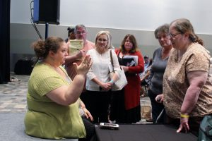 People lined up to talk to Crista Cowan -- we couldn't get enough of her!