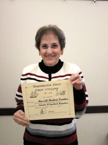 Pam Hagedorn with her First Citizen certificate, 2008