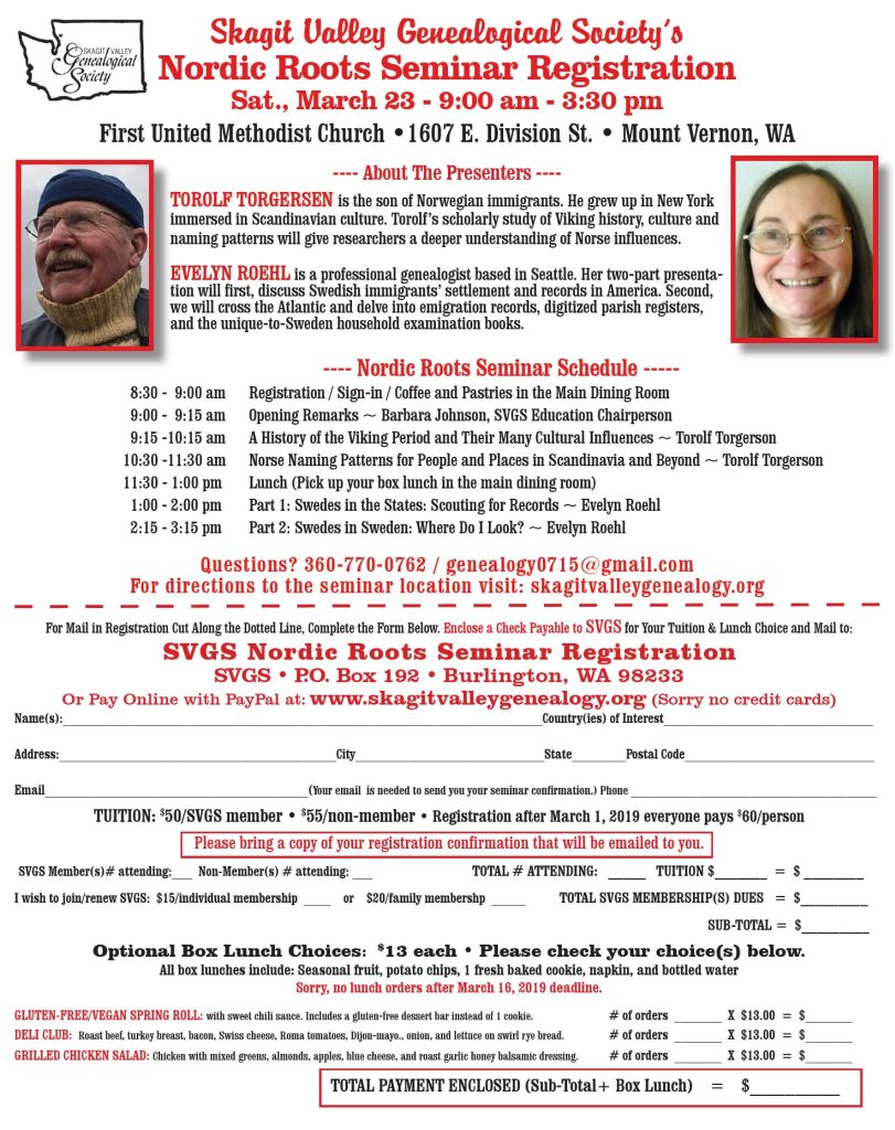 Skagit Valley Genealogical Society March Seminar « Washington State